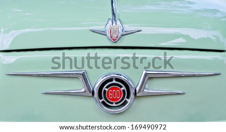 MALLORCA, SPAIN - AUGUST 9, 2013: The front grille of a Seat 600 car. This vehicle was   manufactured in Spain between 1957 and 1973. Over 700,000 were made during this time. - stock photo