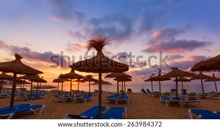 Mallorca sunrise in Magaluf Palmanova beach Magalluf in Balearic Islands Spain - stock photo