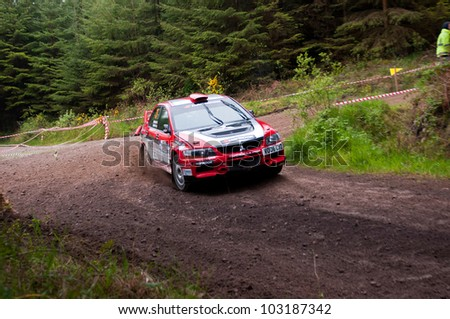 MALLOW, IRELAND - MAY 19: Stage Winner O. Murphy driving Mitsubishi Evo at the Jim Walsh Cork Forest Rally on May 19, 2012 in Mallow, Ireland. 4th round of the Valvoline Forest Rally Championship.