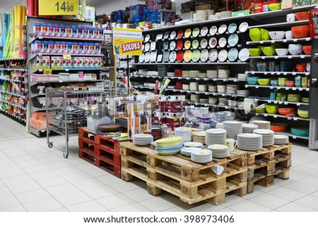 MALMEDY, BELGIUM - JULY 27, 2015: Household appliances and interior decorating department of a Carrefour Hypermarket, a French multinational retailer, and large hypermarket chain. - stock photo