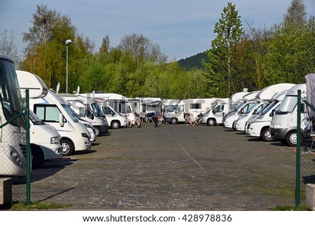 MALMEDY, BELGIUM - MAY 6, 2016: Recreational vehicle parking Malmedy. Location dedicated for motorhomes in Malmedy a Walloon city and municipality in the Belgian Ardennes. - stock photo