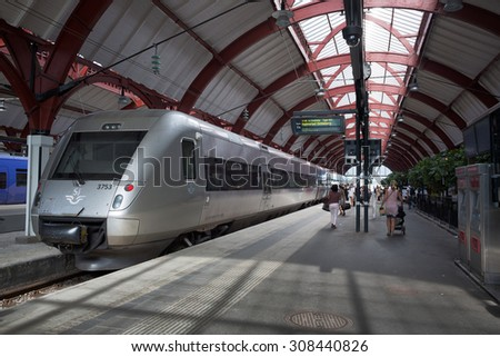 Malmo,Sweden - Aug 12, 2015: High speed train belonging to SJ AB, Sweden's largest train operator for passenger traffic, standing on Malmo central station waiting departure for Gothenburg. - stock photo