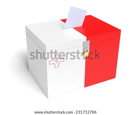 Malta ballot box with Maltese Flag. Isolated on white background. - stock photo