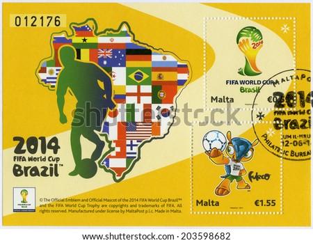 MALTA - CIRCA 2014: A stamp printed in Malta dedicated the 2014 FIFA World Cup Brazil, June 12 -  July 13, circa 2014 - stock photo