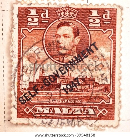 MALTA - CIRCA 1947: A stamp printed in Malta shows image of King George VI, series, circa 1947