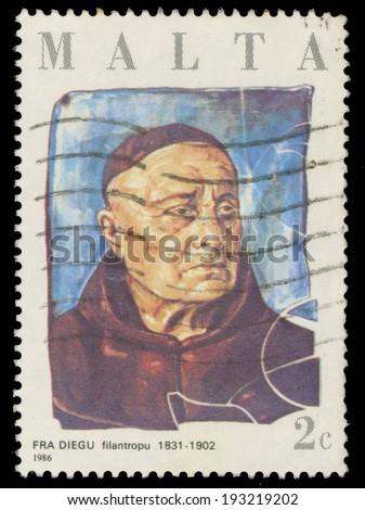 MALTA - CIRCA 1986: A stamp printed in Malta, shows Philanthropist Fra Diegu, circa 1986  - stock photo