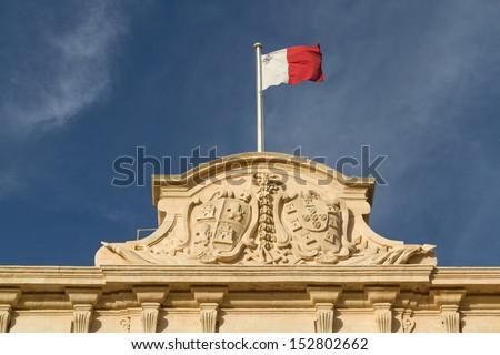 Malta Flag in Blu Sky - stock photo