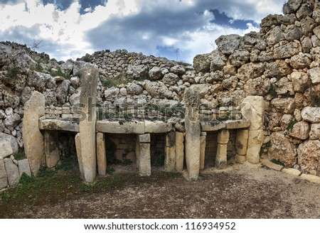 Malta Island, Gozo, the ruins of Ggantija Temples (3600-3000 BC), the megalithic complex was erected in three stages by the community of farmers and herders inhabiting the small island of Gozo - stock photo