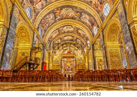 MALTA - JANUARY 21 2015: St John�¢??s Co-Cathedral a gem of Baroque art and architecture interior. Valetta, Malta - stock photo