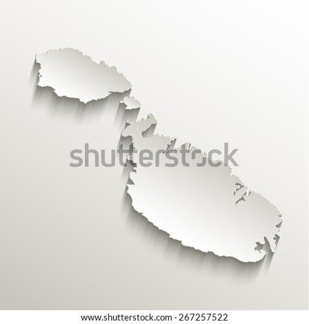 Malta map card paper 3D natural raster - stock photo