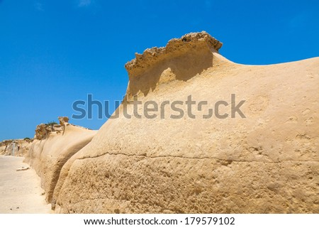 Malta, tufa formations around fort sant'elmo - stock photo