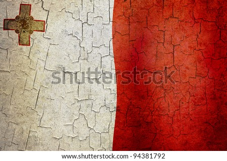 Maltese flag on a cracked grunge background - stock photo