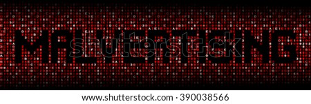 Malvertising text on hex code illustration - stock photo