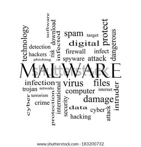 Malware Word Cloud Concept in black and white with great terms such as trojan, virus, infection and more.
