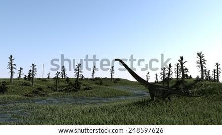 mamenchisaurus on grass terrain  - stock photo