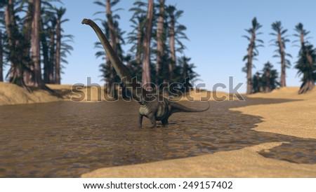 mamenchisaurus walking in water - stock photo