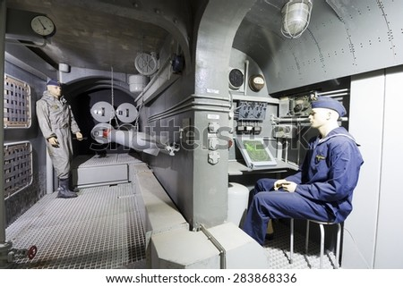 MAMERKI, POLAND - MAY 31: Replica of torpedo and sonar room of U-BOOT made in German bunker in Mamerki, Poland on May 31, 2015. Exhibition is situated in Headquarters of Nazi Land Forces (OKH)