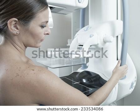 Mammography Examination. Hospital background with technology health machine. - stock photo