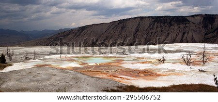Mammoth Hot Springs of Yellowstone National Park - stock photo