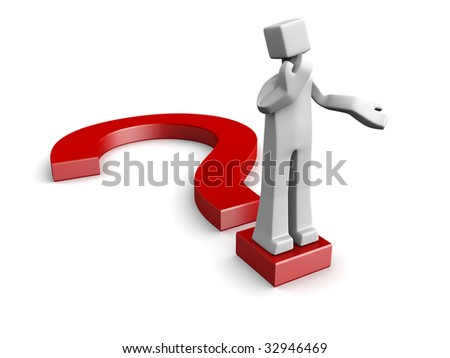 Man acting confusion standing on top of a question mark symbol 3d illustration - stock photo