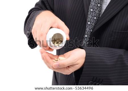 man ad his drugs - stock photo