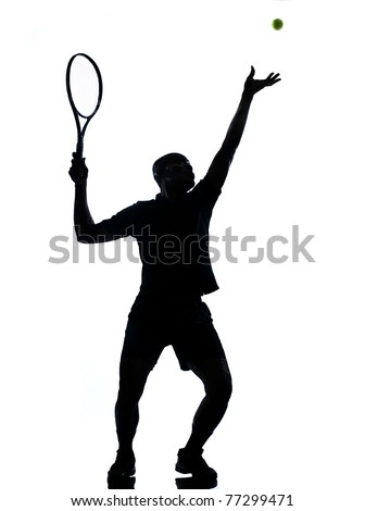 man african afro american playing tennis player on studio isolated on white background - stock photo