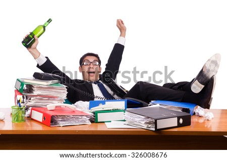 Man after christmas party hangover  - stock photo