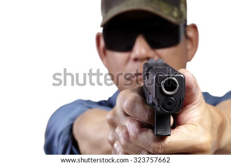 Man Aiming and Shooting Pistol Weapon Front Facing on White - stock photo