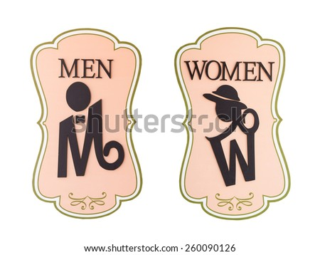 Man and a lady toilet sign on white background - stock photo