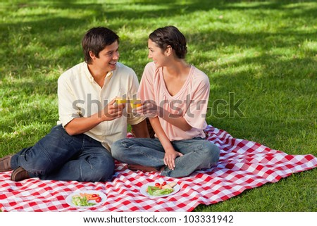 Man and a woman smiling while raising their glasses of orange juice during a picnic - stock photo