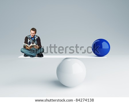 man and  ball rendering in false balance - stock photo