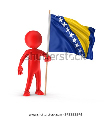 Man and Bosnia and Herzegovina flag. Image with clipping path - stock photo