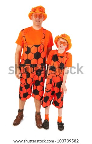man and boy as Dutch soccer supporter - stock photo