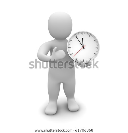 Man and clock. 3d rendered illustration. - stock photo