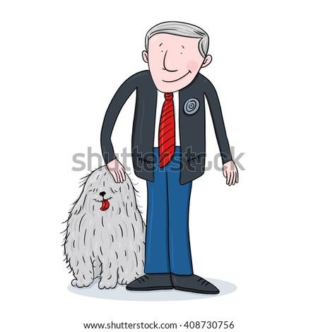 Man and dog illustration - stock photo
