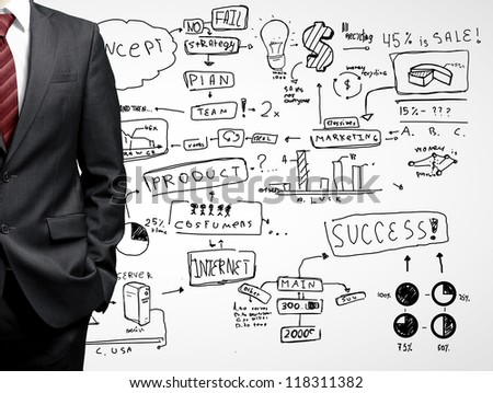 man and drawing business strategy - stock photo
