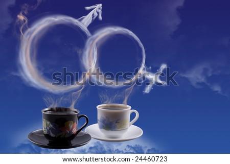 Man and female symbol created by smoke - stock photo