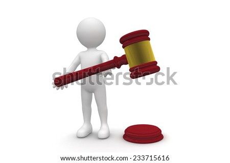 Man and Gavel isolated on white background