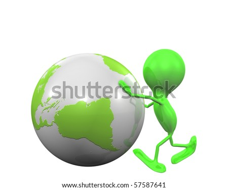 Man and Globe - stock photo