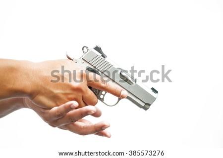 man and gun - stock photo
