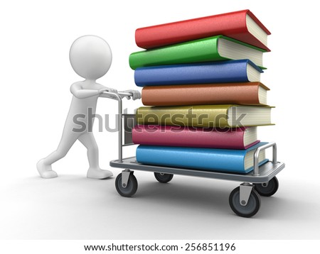 Man and Handtruck with books - stock photo