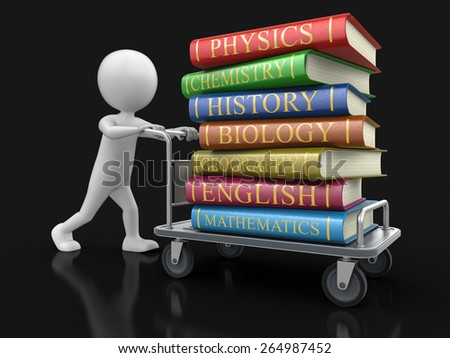 Man and Handtruck with textbooks (clipping path included) - stock photo
