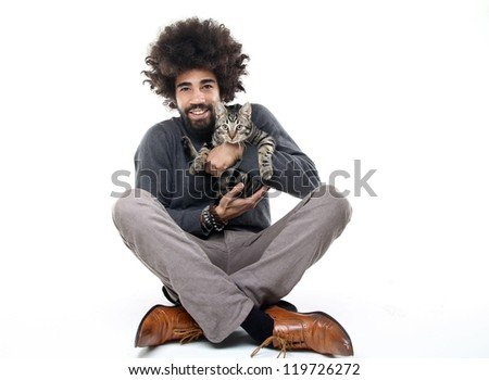 Man and his cat - stock photo