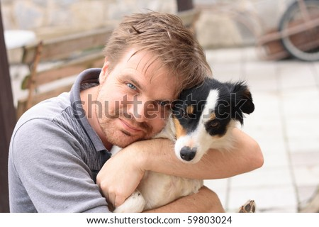 man and his dog - stock photo