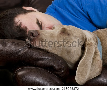 Man and his dog sleeping together on a couch - stock photo