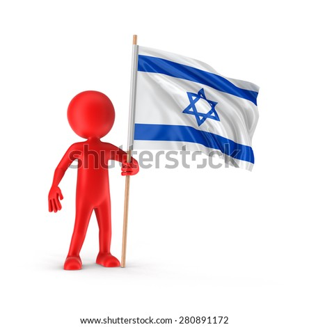 Man and Israeli flag (clipping path included) - stock photo