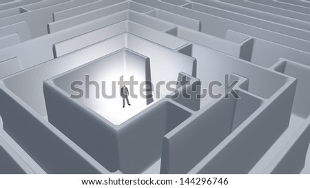 Man and maze - stock photo