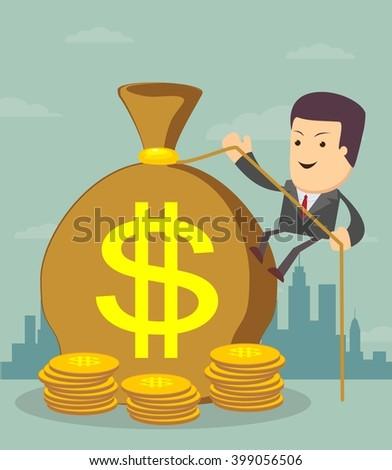 Man and money bag. Money making. Bank deposit -Financials. Stock illustration - stock photo