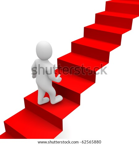 Man and red carpet stairs. 3d rendered illustration. - stock photo