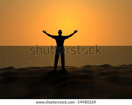 Man and sun. - stock photo